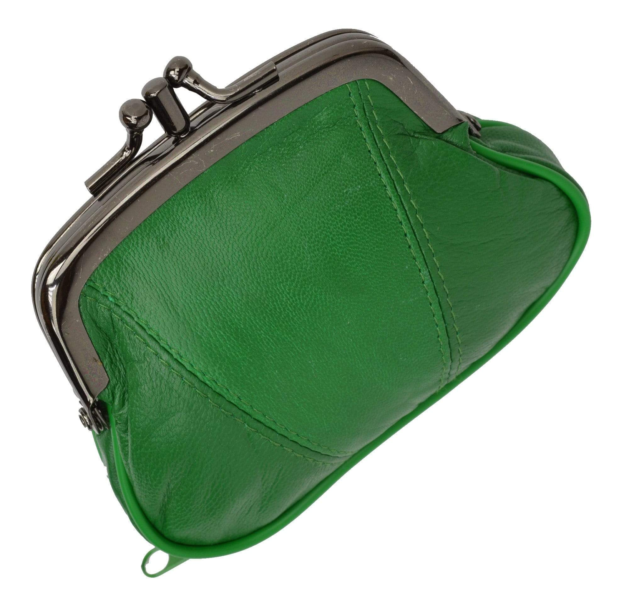 09481abd01f Leather Small Change Purse Double Frame with Zipper Pocket Y022 (C ...