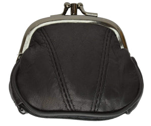 Marshal Clothing, Shoes & Accessories Black Leather Small Change Purse Double Frame with Zipper Pocket Y022 (C)