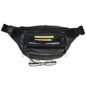 Black Leather Zipper Pockets Waist Pack with Hook and Loop Pocket for Glasses 049 (C) - wallets for men's at mens wallet