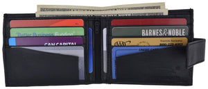 Leather Zippered Middle Pocket  Bifold Wallet with Snap Enclosure 1188 - wallets for men's at mens wallet