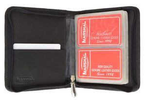 Marshal Clothing, Shoes & Accessories Black Medium Genuine Leather Zip Around Business Credit Card Holder 2670 CF (C)
