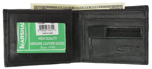Marshal Clothing, Shoes & Accessories Black Men's Bifold Flap Up Premium Leather Zipper Pocket Wallet P 3053 (C)