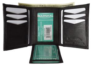 Marshal Clothing, Shoes & Accessories Black Men's Flap Down ID Window Premium Leather Trifold Wallet  P 2855 (C)