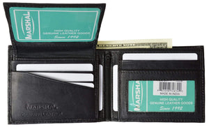 Marshal Clothing, Shoes & Accessories Black Men's Leather Bifold Wallet Removable Flip Up ID Window P 533 (C)