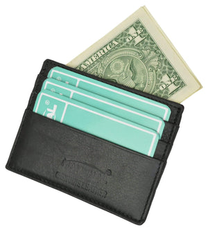 Marshal Clothing, Shoes & Accessories Black Men's Premium Leather Slim Credit Card Holder P 170 (C)