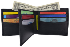 Mens Bifold Center Flap Lambskin Leather Wallet and Credit Card Holder 1252 - wallets for men's at mens wallet