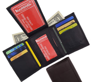 Mens Flap Up ID Trifold Genuine Leather Wallet 1755 - wallets for men's at mens wallet