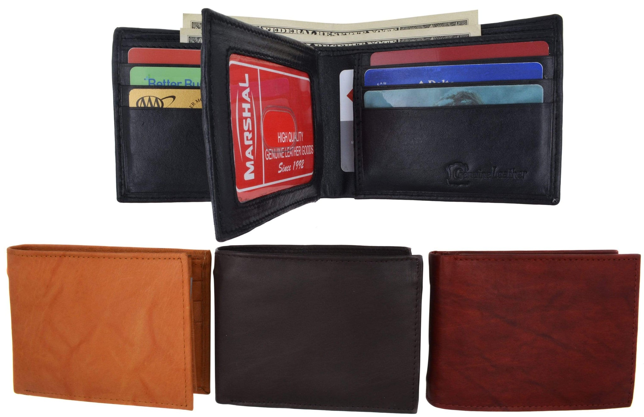 Burgundy RFID Blocking Leather Mens Trifold Slim Wallet Center Flap ID Card