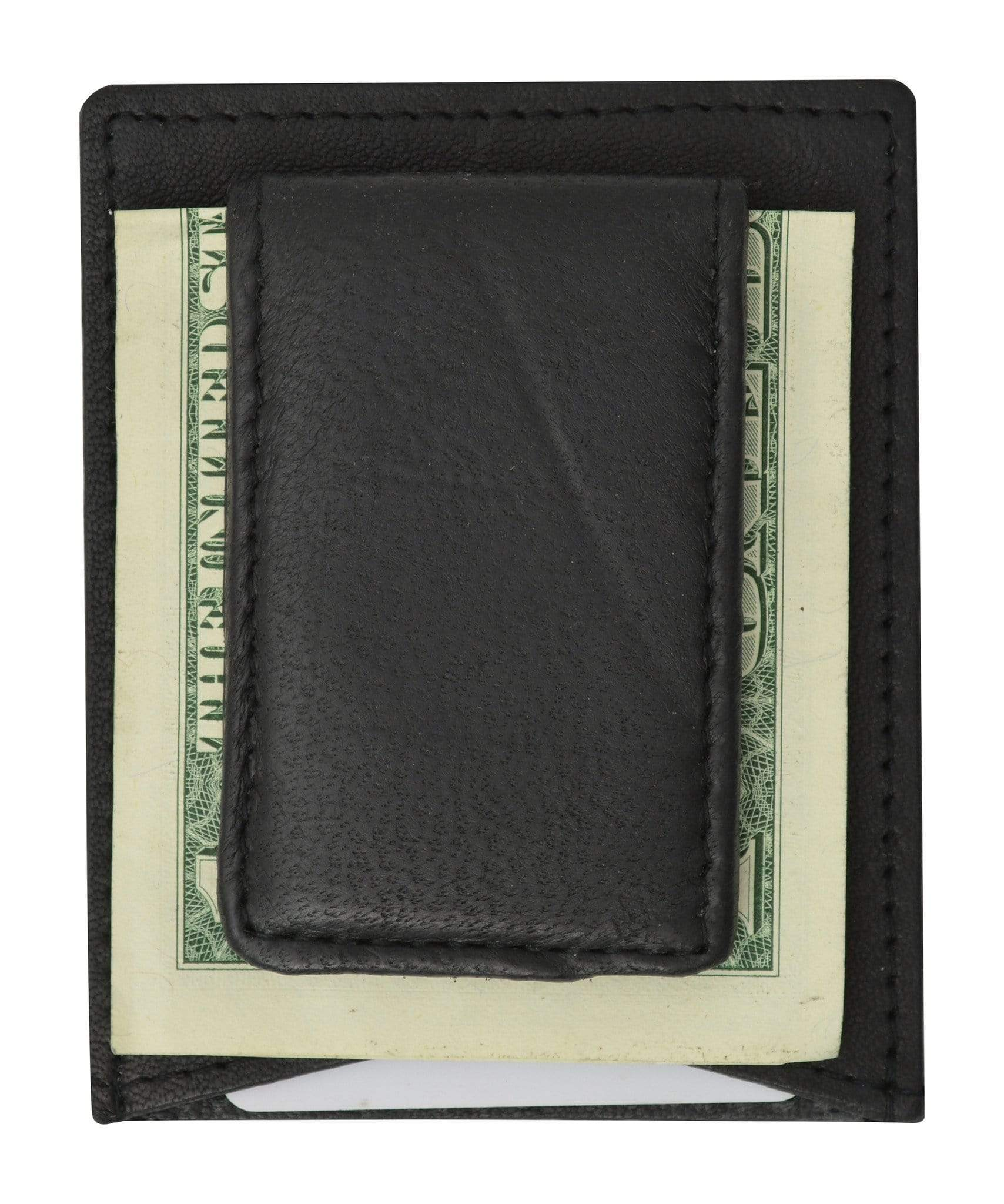 a38cbd93ced2 Mens Genuine Leather Magnetic Money Clip Credit Card Holder Wallet ...