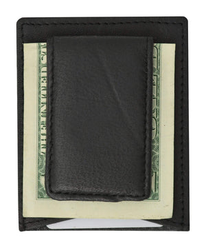 Mens Genuine Leather Magnetic Money Clip Credit Card Holder Wallet 910R (C) - wallets for men's at mens wallet