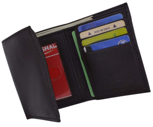 Mens Genuine Leather Trifold Wallet 8 Credit Card Slots ID Window 1155