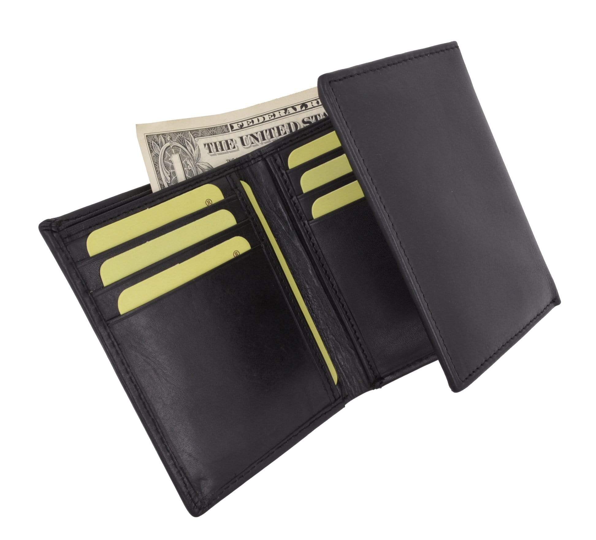 Mens High Quality Genuine Leather Card Holder Trifold Wallet With Outs Menswallet