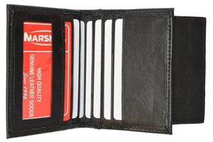 Marshal Clothing, Shoes & Accessories Black Mens Leather Lamb Mini Bifold Wallet Coin Pouch ID 79 (C)