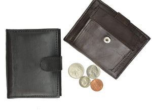 Mens Leather Lambskin Mini Coin Pocket ID Bifold Wallet 1521 (C) - wallets for men's at mens wallet
