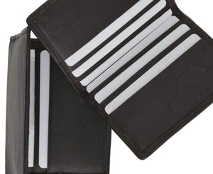 Marshal Clothing, Shoes & Accessories Black Mens New Leather Lamb Bifold Mini Card Holder Wallet 66 (C)