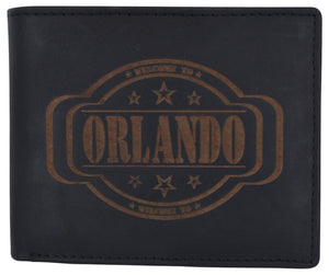 Mens Orlando Printed Logo RFID Cowhide Leather Mens RFID Wallet - wallets for men's at mens wallet