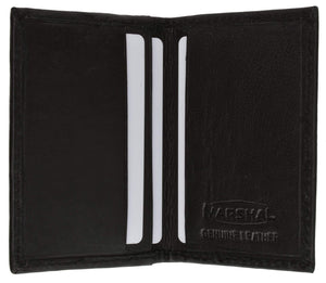 Marshal Clothing, Shoes & Accessories Black Mens Small Leather Lamb Mini Bifold Credit Card ID Wallet 72 (C)