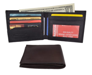 Marshal Clothing, Shoes & Accessories Black Mens Soft Genuine Leather Slim ID Bifold Wallet 60