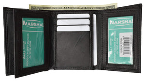 Marshal Clothing, Shoes & Accessories Black Mens Trifold Wallet Extra Capacity 10 Inside Slots 2 ID Windows P 1307 (C)