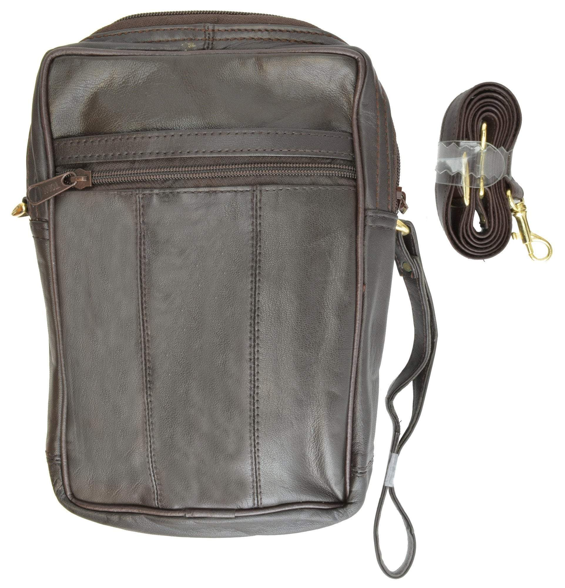 clear and distinctive new arrival top-rated latest Mens Womens Genuine Leather Organizer Pouch Bag w/Strap 104 (C)