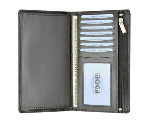 Marshal Clothing, Shoes & Accessories Black Moga Italian Design Handmade High End Leather Checkbook Cover Wallet Organizer with Credit Card Holder  90253