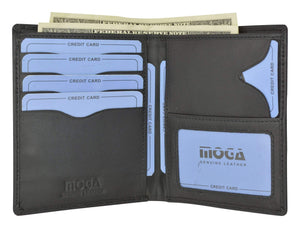 Moga Italian Design Leather Large Hipster Bifold Credit Card ID Mens Wallet 90502 - wallets for men's at mens wallet