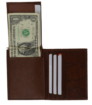 marshal Clothing, Shoes & Accessories black MONEY CLIP CREDIT CARD LEATHER WALLET