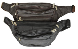 Marshal Clothing, Shoes & Accessories Black New Design Large Multi Zippered Genuine Leather Fanny Pack Waist Bag 041 (C)