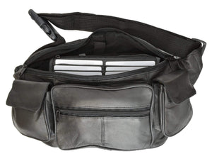 Marshal Clothing, Shoes & Accessories Black New Large Genuine Leather Waist Bag Fanny Pack with Two Cell Phone Pockets and Six Exterior Pockets 405 (C)