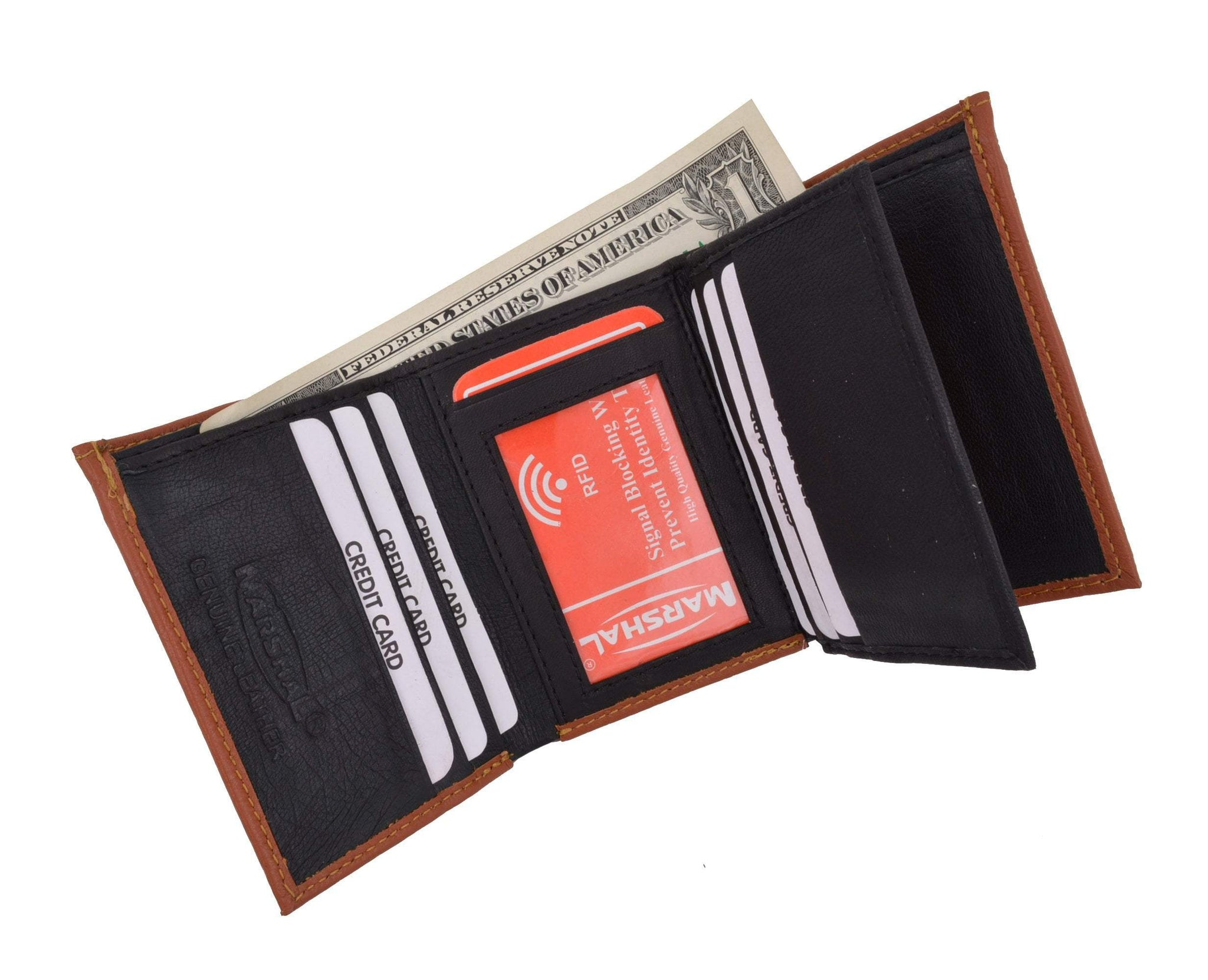 Mens Trifold Leather Wallet RFID Blocking Tan New Marshal
