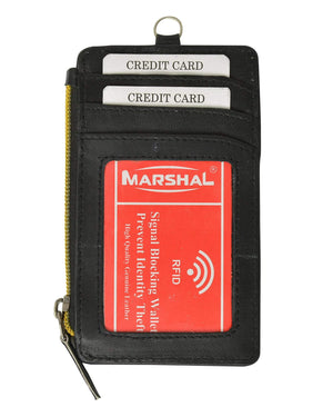 Marshal Clothing, Shoes & Accessories Black New RFID Premium Leather ID Window Credit Cards Zipper Neck Wallet RFID P 861 (C)