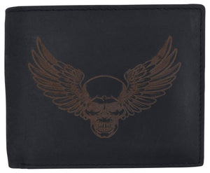 New Skull & Wings Printed Logo Mens RFID Bifold Genuine Leather Wallet - wallets for men's at mens wallet