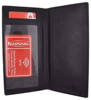 Marshal Clothing, Shoes & Accessories Black RFID Blocking Hand Crafted Hunter Genuine Leather Checkbook Cover Simple
