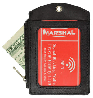 Marshal Clothing, Shoes & Accessories Black RFID Blocking ID Printed Lanyard Premium Leather Badge Holder with Neck Strap RFID P 4561 (C)
