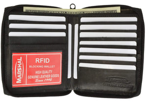 RFID Blocking Mens Leather Zippered Wallet RFID 702 (C) - wallets for men's at mens wallet