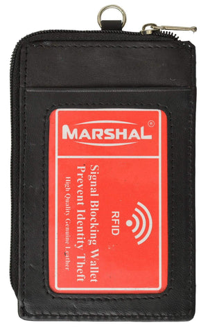 Marshal Clothing, Shoes & Accessories Black RFID Blocking Premium Genuine Leather Credit Card Holder Zipper ID Neck Wallet RFID P 470 (C)