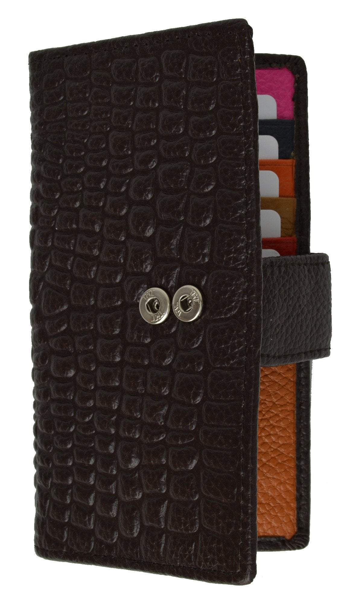 Slim Credit Card Holder New Fashion Croco Embossed Design with Snap Closure  118-268 (C)