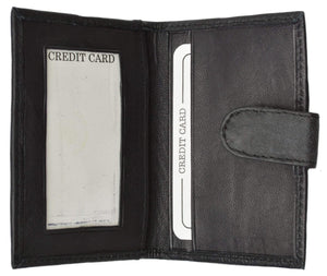 Slim Lamb Leather Credit Card ID Mini Snap Bifold Wallet Driver's License Safe 145C (C) - menswallet