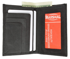 Marshal Clothing, Shoes & Accessories Black Slim Lambskin Leather Credit Card ID Mini Bifold Wallet 81 (C)