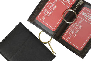 Slim Thin Lamb Leather Credit Card ID Mini Wallet Bifold Driver's License Safe with Key 515 (C) - menswallet