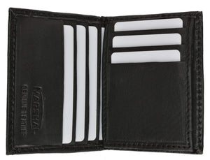 Marshal Clothing, Shoes & Accessories Black Small Mens Lambskin Leather Bifold Credit Card Holder with Flap Up 73 (C)