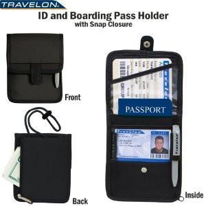 marshal Clothing, Shoes & Accessories Black Travelon ID Boarding Pass Holder Snap Closure Secure Passport Travel Wallet