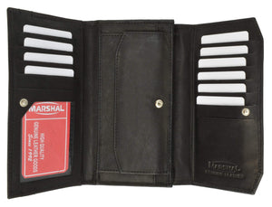 Marshal Clothing, Shoes & Accessories Black Womens Checkbook Wallet with Id Window and Snap Button Closure 3547 CF (C)