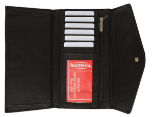 Marshal Clothing, Shoes & Accessories Black Womens Checkbook Wallet with ID Window and Snap Button Closure 3575 CF (C)