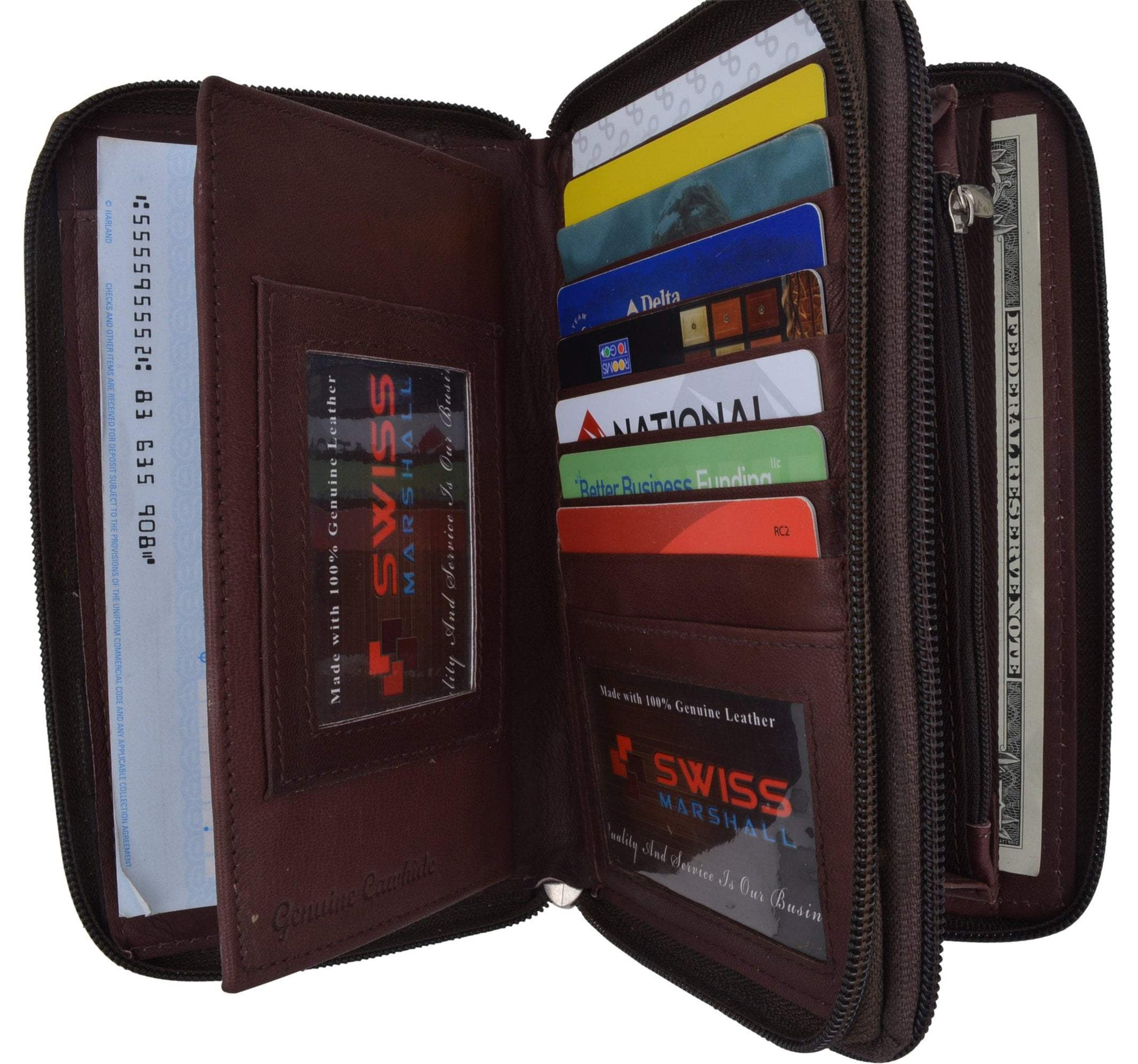 17e7f9908dec Womens Wallet Genuine Leather Double Zip Around Phone Clutch Large Travel  Purse Ladies Wallet