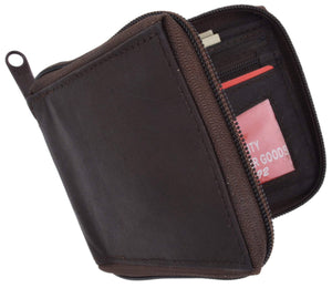 Marshal Clothing, Shoes & Accessories Black Zip Around Bifold Wallet with Card Slots and Zipped Coin Space for Men 1656 CF