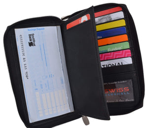 Black Zip Around Genuine Leather Checkbook Credit Card ID Holder Wallet - wallets for men's at mens wallet