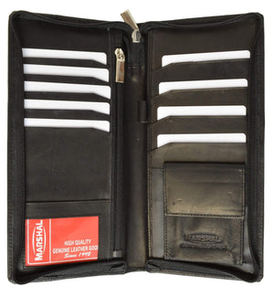 Zip Around Leather Travel Wallet with Passport and Boarding Pass Holder 663 CF (C) - menswallet