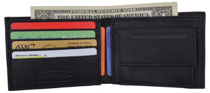 Boys Slim Compact Card and Coin Pocket Bifold Leather Wallet - wallets for men's at mens wallet