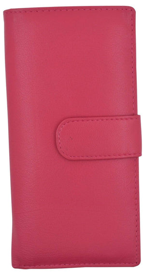 Brand New Hand Crafted Genuine Leather Checkbook Cover Pink with Snap Closure - wallets for men's at mens wallet